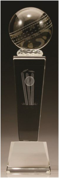 Crystal cricket trophy