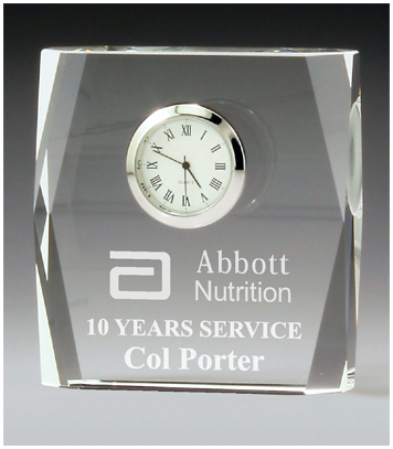crystal rectangular clock business award