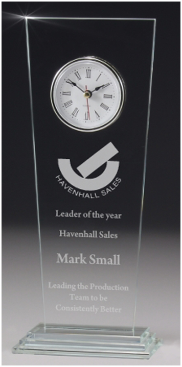 Glass clock gift boxed business award