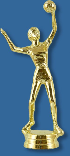 Volleyball trophy female gold figurine, serving action in bright gold colour, attaches to most bases