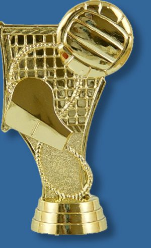 Volleyball gold theme figure, featuring ball, whistle and net in bright gold colour, attaches to most bases