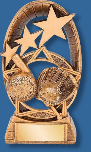 Gold star baseball resint rophy. This series of Baseball trophies have crossed bats ball and glove detail