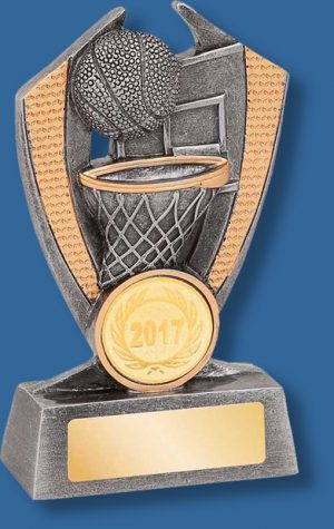 Antique silver and gold basketball collage trophy
