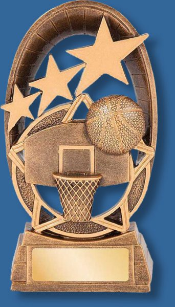 Gold star basketball collage trophy