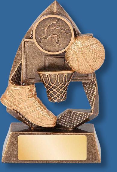 Triangular basketball collage trophy