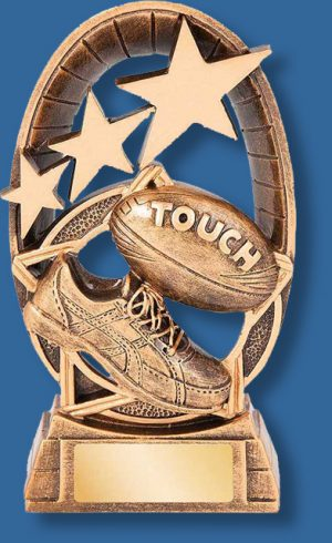 Gold star galaxy touch football trophy