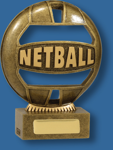 """Netball Trophy Iconic Resin. The """"Ball"""" is a vibrant and exciting design."""