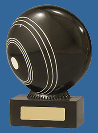 Black Lawn Bowls trophy depicting actual ball on low base with engraving plate