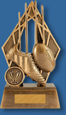 Aussie Rules Trophy Generic Resin. Pinnacle Series. Can be engraved! Bronze tone resi with boot and ball detail