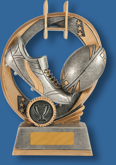 Rugby Trophy Generic Resin. Elliptical Series. Silver and gold tones with Rugby Ball and boot detail.