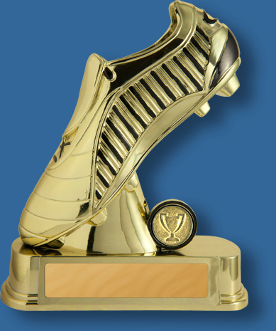 Soccer Trophy bright gold boot