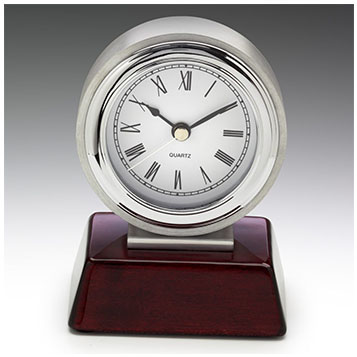 Chrome and timber clock award