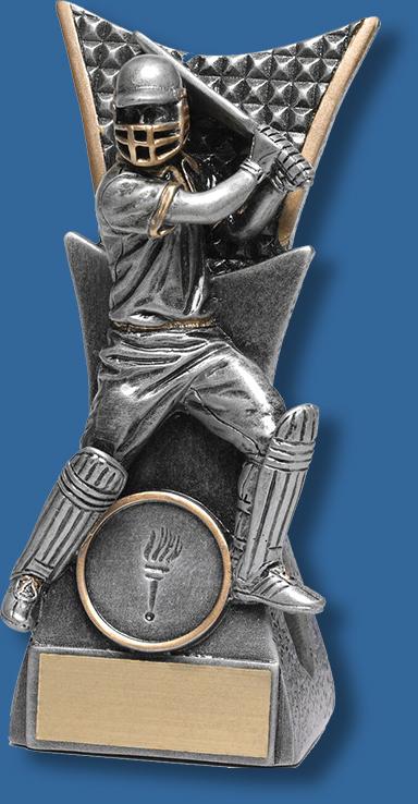 29114-t Cricket Trophy antique silver