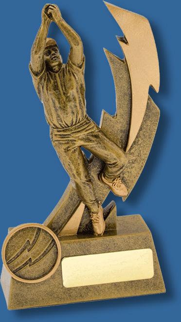 Shazam male antique gold fielder cricket trophy