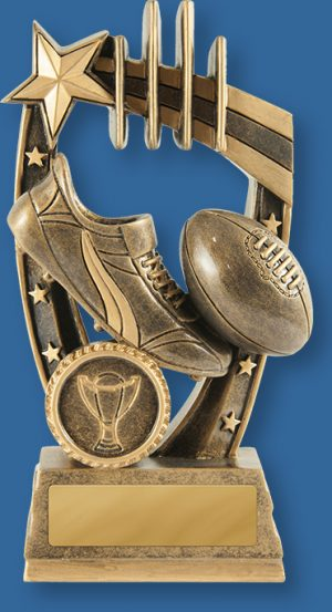 Aussie Rules Trophy Generic Resin. Maverick Footy Trophies are a well designed themed award featuring ball, boots and posts in bronze and gold tones.  Professionally engraved on site.