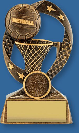 Bronze Netball Trophy Axis Series. a combination of ball and goal against impressive deep bronze background. Deep bronze with gold trims.