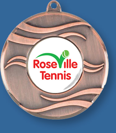 Bronze Tennis Medal includes neck ribbon