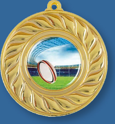 Gold Rugby Medal MCIS#MM7050BGi with neck ribbon