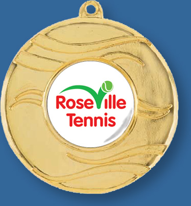 Gold Tennis Medal with neck ribbon.