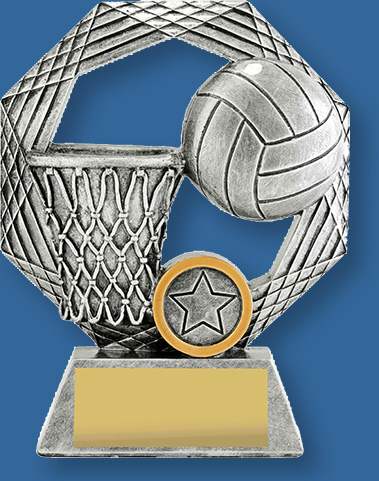 Netball Trophy Opal series. The Opal Series offers a distinctive design that features iconic combination of ball and goal. These Netball Trophies have distinctive silver tone.