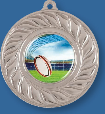 Silver Rugby Medal with Neck Ribbon