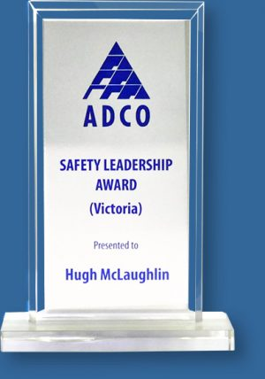 Glass Trophy with Silver metal Printed plate
