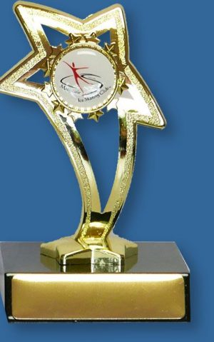 Logo Trophy Dance Academy FG1011At on TKt Gold Star on timber base with custom logo preview
