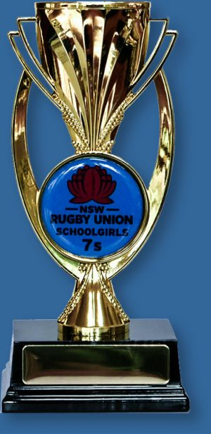 School Trophy with custom Insert Gold plastic cup with 50mm custom decal on a black base.