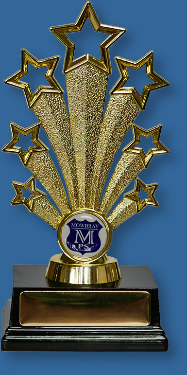 School Trophy with school crest Gold plastic stand on base with 1 inch custom insert