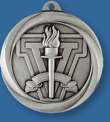 Silver Victory Medal with neck ribbon.