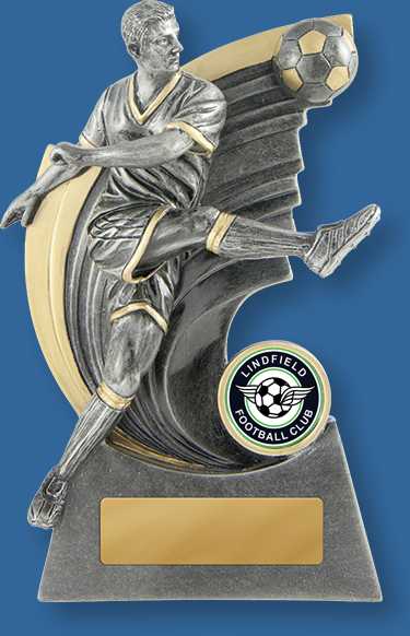 Lindfield Soccer Club 626-9MBe Football trophy Silver resin