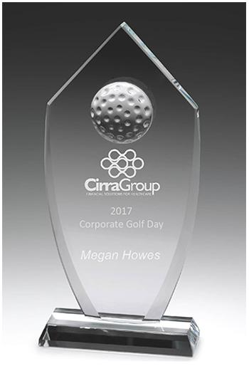 Glass Golf Trophy in presentation case. Sandblast etched.