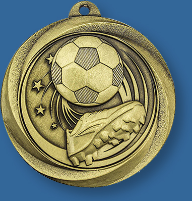 Gold Soccer Medal Brushed Gold, Silver and Bronze Economy series includes neck ribbon