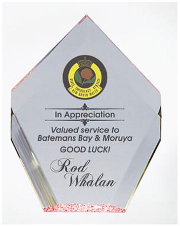 Acrylic colour printed business award , Diamond shape with red base.
