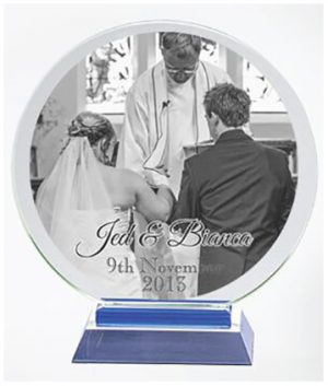 Clear Glass trophy with mono print