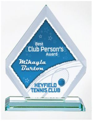 Diamond Clear Glass Trophy Colour printed logo with Presentation Box.