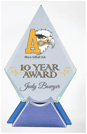 Glass &Metal Diamond Trophy Colour Printed clear glass