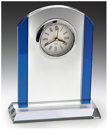 Rennaissance Glass Clock 10mm thick with chrome accents and gift box