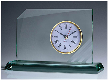 Rialto Glass Clock Desk Award 10mm thick glass with gift box