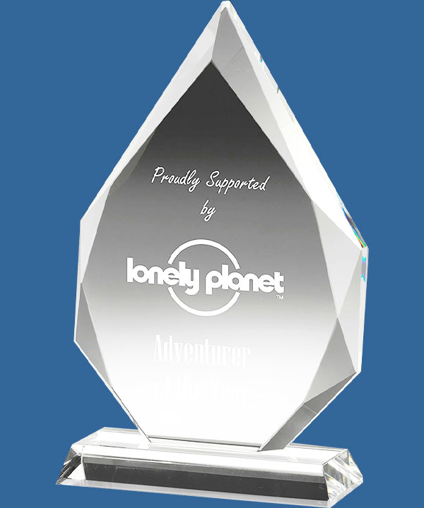 Superb Crystal Trophy. The Arrowhead Crystal Awards are a classic single Peak with angled facets to the sides. Five sizes boxed.