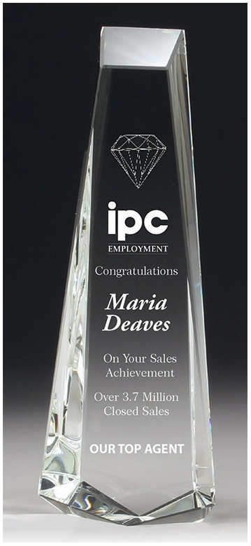 Tall Crystal Trophy, Top Quality Plinth Crystal Award