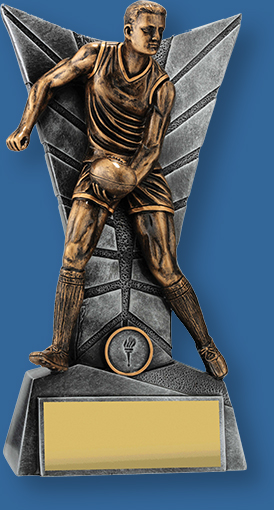Male gold Aussie Rules trophy with silver backdrop and base