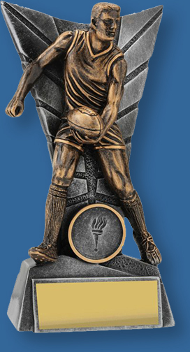 Gold male Aussie Rules trophy with silver backdrop and base