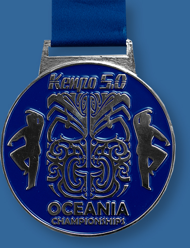 Cast custom medal blue colour infill