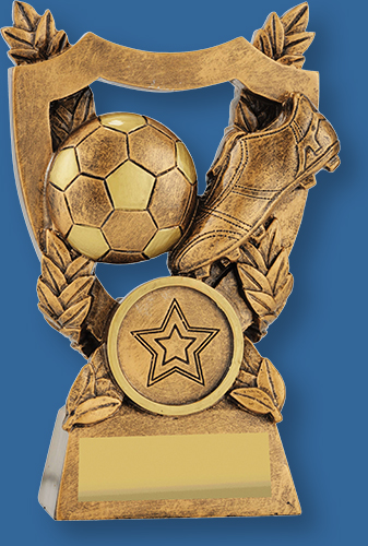 Bronze theme soccer trophy