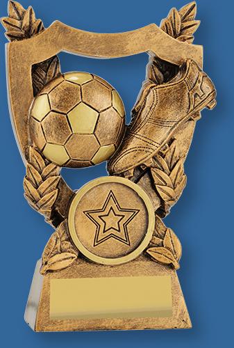 Bronze theme soccer trophy