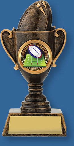 Mini rugby trophy cup bronze on bronze base
