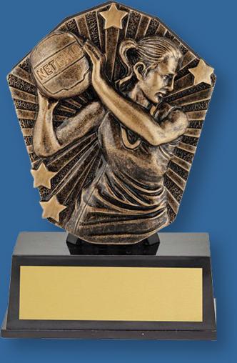 Supermini netball trophy bronze figure on bronze backdrop