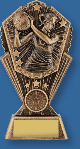Female netball trophy bronze figure on bronze backdrop and base