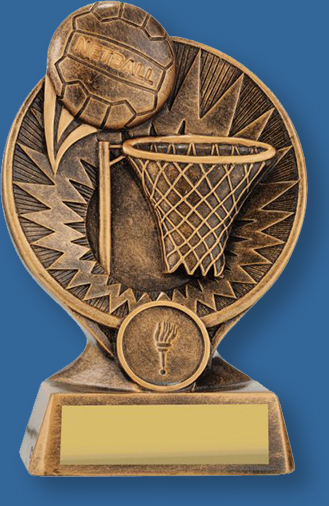 Generic netball theme trophy with gold ball and ring with gold backdrop and base